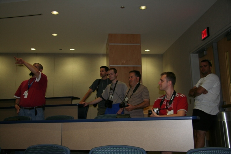 Kevin (our host), Brad, Esa, Jimmy, Andre & Chris in one of the auditoriums.  National Weather Centre - Norman, Oklahoma.